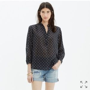 Madewell Shirred Popover Shirt In Dot M